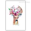 Modern Watercolor Deer Animal Flory Antlers Art Print