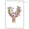 Watercolor Deer Animal Purple Flory Antlers Modern Wall Art