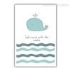 Lets Swim with the Whale Boy Girl Wall Art
