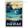 Aloha Hawaii Escape to Paradise Vintage Beach Print