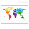 Colorful World Map Print