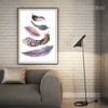 Nordic Watercolor Painted Birds Feather Wall Art