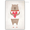 Red Heart Kawaii Bear Animal Art