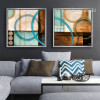 Retro Blue and Brown Circles Canvas Wall Art