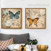 White Rose Blue Brown Butterfly Retro Canvas
