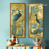 Retro Blue Peacock Combination Exquise Savon Print Long Wall Art