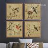 Retro Birds Combination Bee Eater, Sparrow 4 Piece Print Set