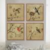 Retro Birds Combination Bee Eater, Sparrow 4 Piece Art Prints