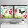 Retro Dreams Take Flight Dragonfly, Wishes Butterfly Painting Prints on Canvas