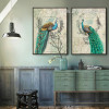 Retro Vintage Green Peacock Bird Nobility Elegant Living Room Decor