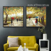Light Green Spring Romantic Couple Retro Painting Prints