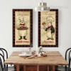 Retro Posters of Cartoon Chef Cook Turkey, Hot Dogs Kitchen Wall Art