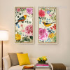 Retro Style Birds and Flowers Combination Long Vertical Wall Art