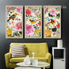 Retro Style Birds and Flowers Combination Long Wall Art