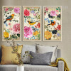 Retro Birds and Flowers Combination Long Vertical Wall Art