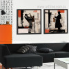 Retro Posters of Rock Jazz Saxophone Performances Silhouette Art Set