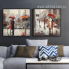 Romance under Red Umbrella Couple Walk on Street Painting Prints