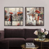 Romance under Red Umbrella Couple Walk on Street Retro Prints