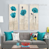 Retro Style Blue Poppy Floral Canvas Art