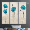 Retro Style Blue Poppy Flower Long Wall Art