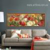 Retro Color Poppy Flowers Living Room Decor