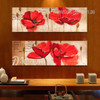 Red Poppy Flower Retro Long Wall Art