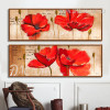 Red Poppy Flower Retro Art