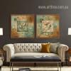 Retro Poster Combination of Tree, Birds Prints 2 Piece Living Room Decor