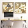 Retro Style Golden White Magnolia Floral Wall Art