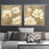 Retro Golden White Magnolia Floral Canvas Art