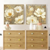 Retro Style Golden White Magnolia Floral Canvas Art