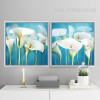 Retro Style Blue and White Arum Lily Flower of Life Wall Art