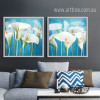 Retro Style Blue and White Calla Lily Painting Prints