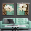 Emerald Green and White Poppy Flower Painting Prints on Canvas