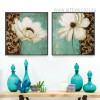Retro Style Emerald Green and White Poppy Flower Cheap Painting Prints