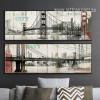 Retro Brooklyn Bridge in San Francisco City New York Long Wall Art