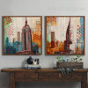 Retro Vintage New York Empire State Building Skyscraper Theme Canvas Prints