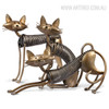 Metal Sculptures of Spring Cat Set