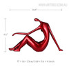 Red Reclining Woman Figurine Resin Sculpture Size Description