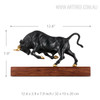 Running Bull Copper Metal Sculpture Size Description