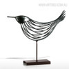 Iron Metal Bird Figurine Silver Wire Sculpture