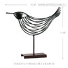 Iron Metal Bird Figurine Silver Wire Sculpture  Size Description