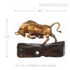 Unstoppable Running Bull Copper Metal Bronze Sculpture Size