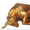 Unstoppable Running Bull Copper Metal Bronze Sculpture Animal Figurine (5)