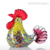 Multicolor Rooster Glass Sculpture Cock Miniature