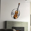 Iron Metal Violin Sculpture Art Wall Hanging Musical Instrument Figurine (2)