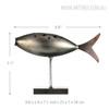 Grey Fish Style Submarine Figurine Iron Metal Sculpture Size Description
