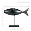 Dark Grey Fish Style Submarine Figurine Iron Metal Sculpture Size Description