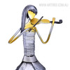 Violin Playing Girl Iron Metal Sculpture Music Band Figurine (2)