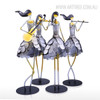 Handmade Iron Metal Singing and Instruments Playing Girls Band Sculptures